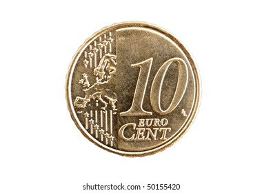 Top view  of a 10 cent Euro coin isolated on white