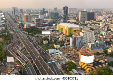 Top view of 5-way intersection Ladprao in Bangkok business district.