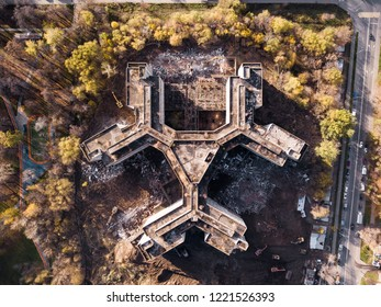 Top view of abandoned building for the hospital in Khovrino, Moscow