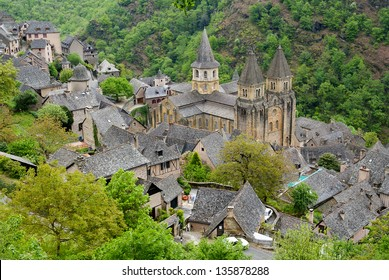 Top view to Abbey of Saint-Foy at Conques, France