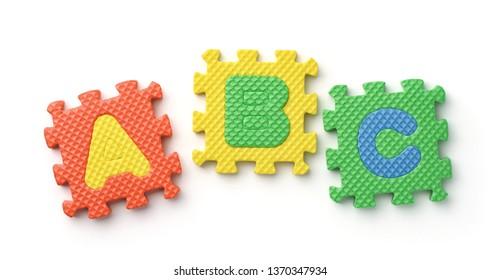 Top view of ABC alphabet foam puzzle pieces on white