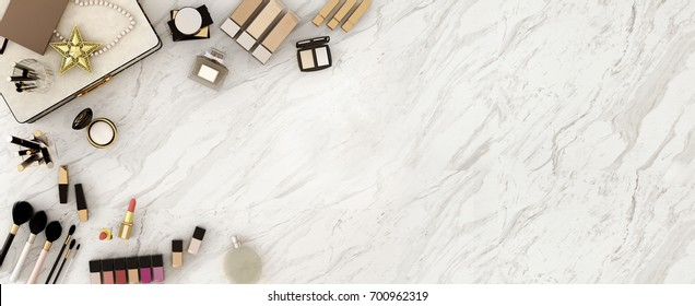 Top view of accessories , beauty cosmetics ,notebook for woman  on marble background,work space