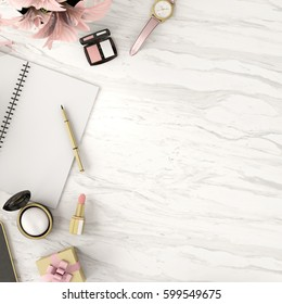 Top view of accessories , cosmetics ,notebook, smartphone,flower,gift box on marble background,work space