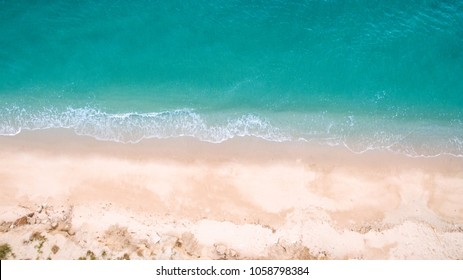 Top View Aerial Image From Drone Of An Stunning Beautiful Sea Landscape Beach With Turquoise Water