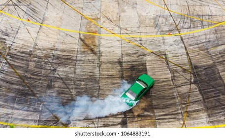 Top view Aerial view photo driver drifting car on asphalt track,Car drift ,Race,Motorsport