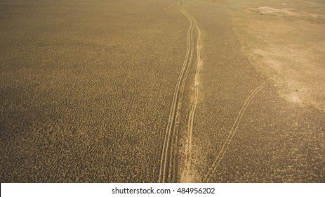 Top view aerial photo from drone of off road way with tires of car in dessert valley landscape. Beautiful nature with copy space for advertising. Concept of freedom of choice of destination in travel
