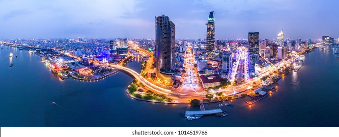 Top view aerial photo from flying drone of Bitexco, a developed metropolitan with office skyscrapers and business center.Ho Chi Minh city with tall buildings
