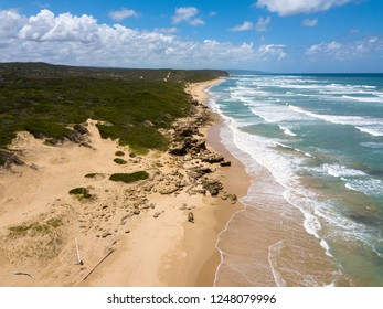 Top view aerial photo from flying drone of an amazingly beautiful and lonely sea landscape along garden route in South Africa.