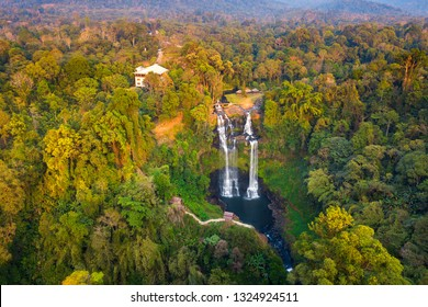 Top view Aerial photo from flying drone over Tad Gneuang Waterfall at Paksong  Champasak  Laos,ASIA.Tropical Waterfall in deep forest.