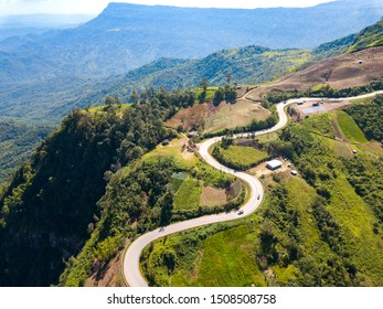 Top view Aerial photo from flying drone over Mountains and winding mountain paths exciting steep at Phu Thap Boek ,Phetchabun Province,Thailand,ASIA.