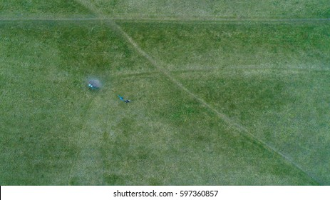 Top view aerial photo from flying drone of park, Natural grass texture