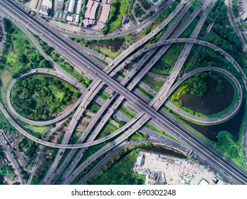 top view, aerial photos, Traffic on highway with cars.