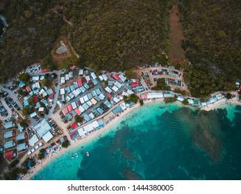 Top view aerial shot of Buye Beach in Cabo Rojo, Puerto Rico.