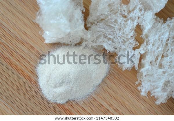 Top view of agar agar powder and dried seaweed - Thai cooking ingredient