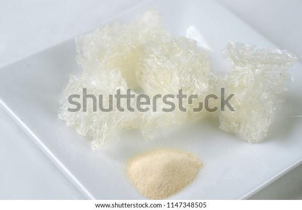 Top view of agar agar powder and dried seaweed - Thai cooking ingredient