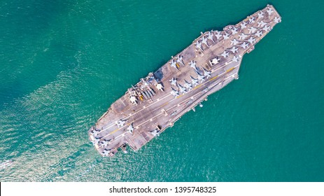 Top View Aircraft Carrier warship battleship In the ocean