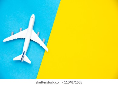 Top view for Airplane models on a colorful background.