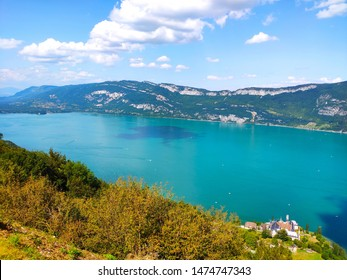 Top view of Aix-les-Bains lake in France - Shutterstock ID 1474747343