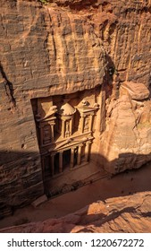 Top view of Al Khazneh or Treasury in Petra, Wadi Musa, Jordan.