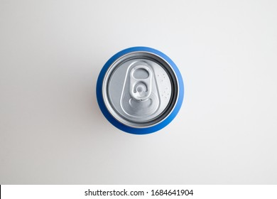 Top View of Aluminum Can of Beverage.