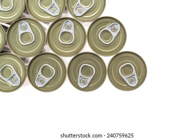 Top of view aluminum cans isolated on white background