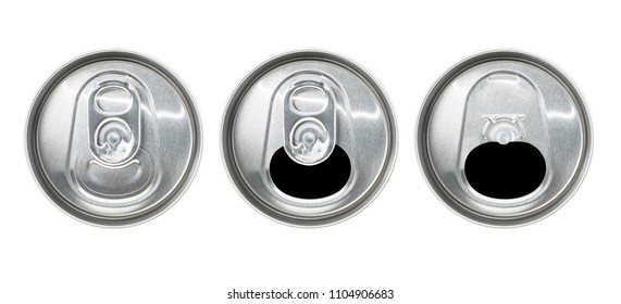 Top view of aluminum ring pull can isolated on white background with clipping path