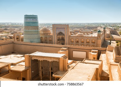 Top view of the ancient fortress Ichan Kala. Khiva, Uzbekistan