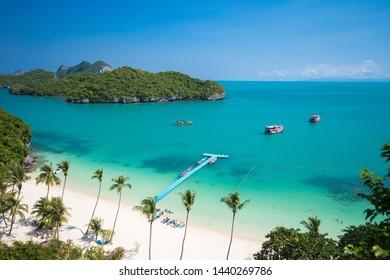 Top View of Angthong national marine park close to Koh Samui, Thailand