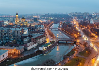 Top view of the Annunciation Cathedral, Zalopan district and center of Kharkiv. Lopan Bridge, Kupecheskiy Bridge, Bursatsky bridge over the river Lopan.
