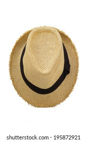 Top view of antique straw hat on white background