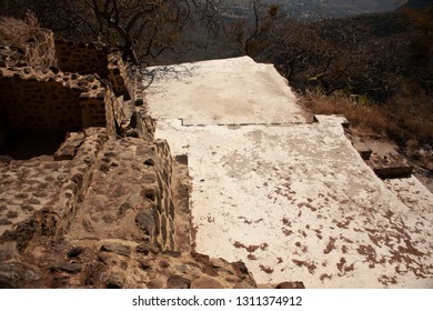 Top view of archaeological vestiges dating from 1153 in the pyramid buried in the chasm of the great hill of the speaker in a state of Mexico