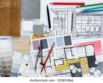 Top View Architect Interior Designer Working Stock Photo Edit Now