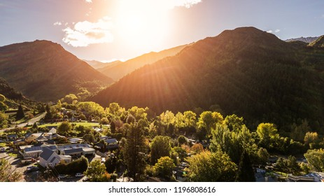 Top view of Arrowtown in New Zealand