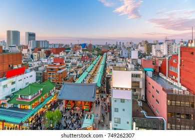 Top view of Asakusa area in Tokyo Japan at sunset