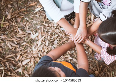 Top view of asian children holding hands together in the park. Friend stack hands showing unity and teamwork
