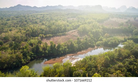 top view, asian tropical forest and river