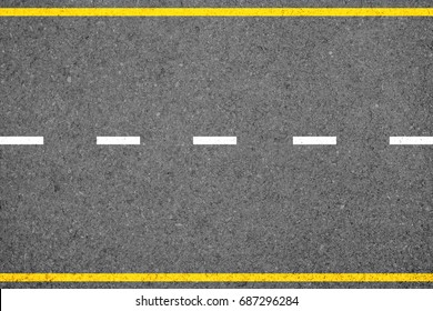 Top view of asphalt concrete road with highway line marks for road transportation background.