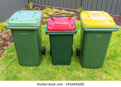 Top view of australian garbage wheelie bins for recycling, general and green waste provided by local council
