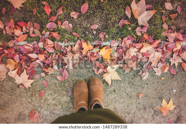 top view autumn shoes and leaves