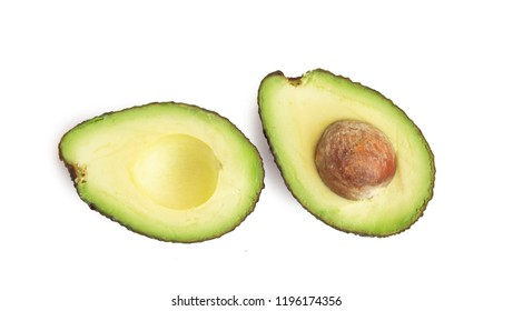 Top view avocado isolated on white background.