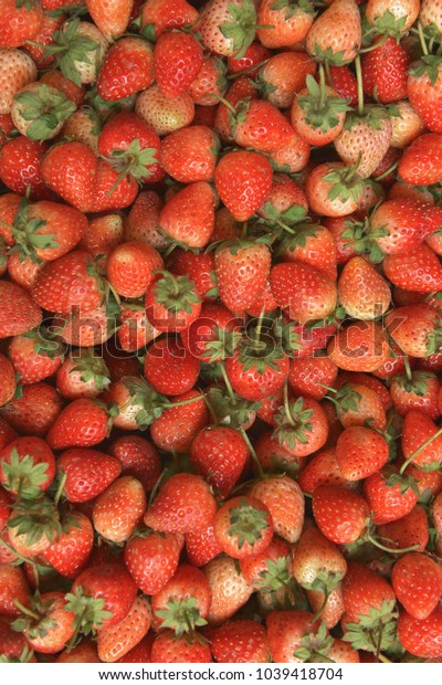 Top view background from fresh  strawberries