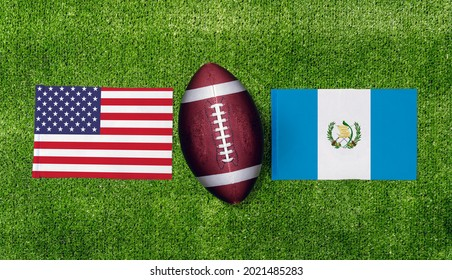 Top view ball for american football with USA vs. Guatemala flags match on green american football field