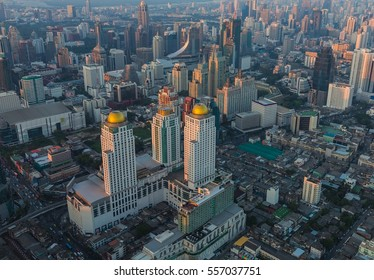 Top view, Bangkok city central business downtown, cityscape background