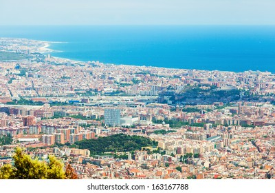 Top view of Barcelona from mount . Catalonia, Spain