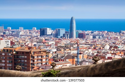Top view of Barcelona from Park Guell. Spain