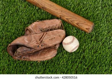 top view baseball bat glove and ball