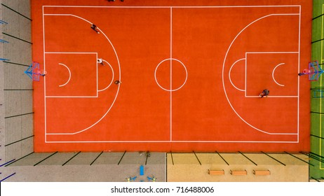 Top view of the basketball court.