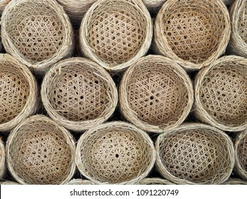 Top view baskets circles bamboo Weave wooden  background.