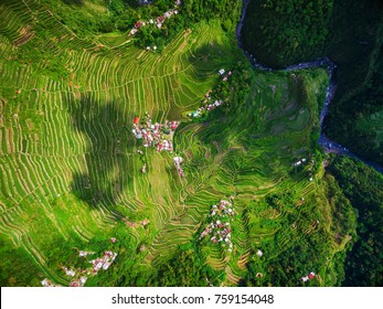 Top view of Batad Rice Terraces in Northern Luzon, Philippines.