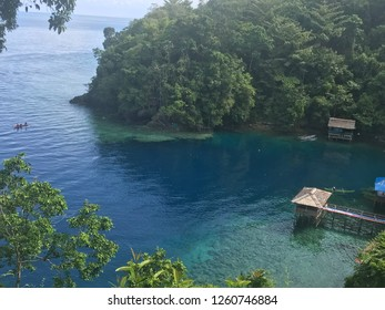 Top view of a bay in Ambon Island Indonesia